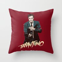quentin tarantino Throw Pillows featuring Quentin by CromMorc