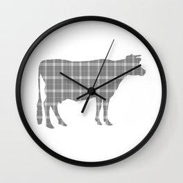 Cow: Grey Plaid Wall Clock