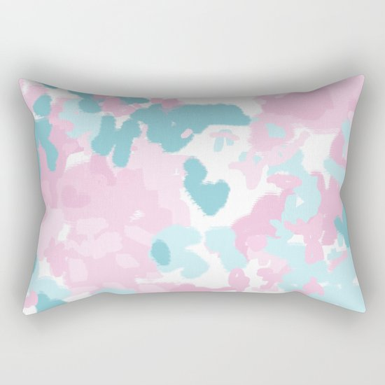 Cruz - abstract painting pastel pink and blue minimal modern decor for office home Rectangular Pillow