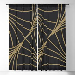 Diamond Series Round Wave Gold on Charcoal Blackout Curtain