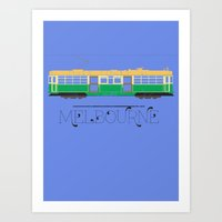 melbourne Art Prints featuring Melbourne by Tourmaline Design