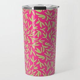 Pink and Green Bamboo Leaves Travel Mug