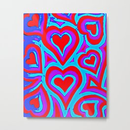 Funky Abstract Zendoodle Hearts Metal Print