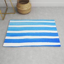Blue Watercolor Stripes Rug