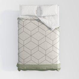 Sage Green Geometric Honeycomb Lattice Fine Cuff Pattern Comforters