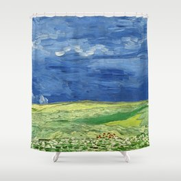 Wheatfield under thunderclouds by Vincent van Gogh Shower Curtain