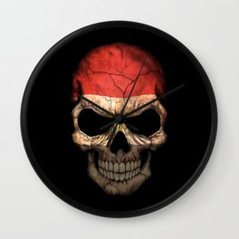 Dark Skull with Flag of Egypt Wall Clock