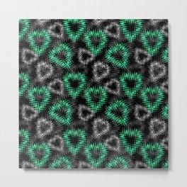 Broken heart . Black and green pattern . Metal Print