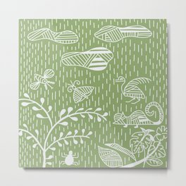 Greenery Land Life No. 2 Stripes Metal Print