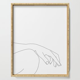 Minimal hand on knee line drawing - Bliss Serving Tray