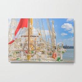 Sailing Ship Naval School Parked at Port Metal Print