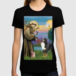 Saint Francis Blesses a Bernes Mountain Dog T-shirt