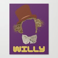 willy wonka Canvas Prints featuring Willy Wonka and you by Ally Simmons