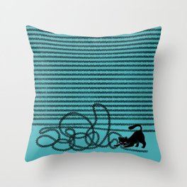 Unravel (in Blue) Throw Pillow
