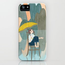 Lonely Girl In Rain Day iPhone Case