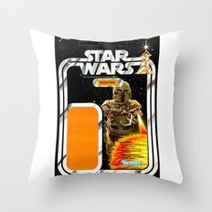 Boba Fett Vintage Action Figure Card Throw Pillow
