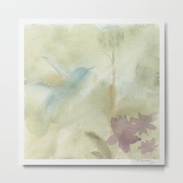 Hummingbird Selah - Vintage Taupe Brown Metal Print