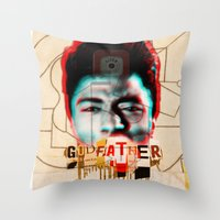the godfather Throw Pillows featuring Godfather by Marko Köppe