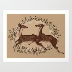 Jumping Deer Art Print