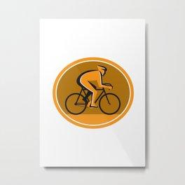 Cyclist Riding Bicycle Cycling Racing Circle Retro Metal Print