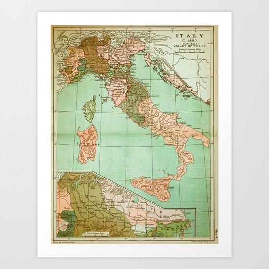 Italy in 1490 - Vintage Map Series Art Print