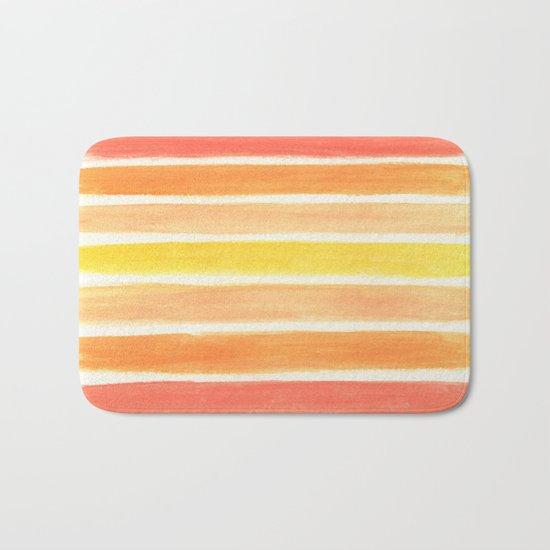 Orange Striped Abstract Bath Mat