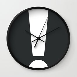 Exclamation (White on Black) Wall Clock