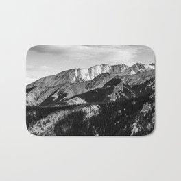 Black and White Mountains Bath Mat