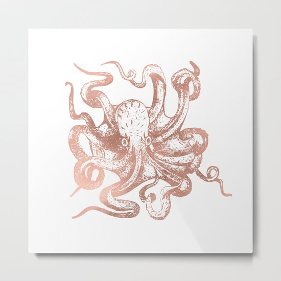 Rose Gold Octopus Metal Print