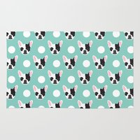 meme Area & Throw Rugs featuring French Bulldog pattern polka dogs dog head funny dog meme cute gift for a dog lover frenchie owner by PetFriendly