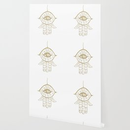 Hamsa Hand Gold on White #1 #drawing #decor #art #society6 Wallpaper
