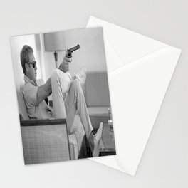 Steve Mcqueen with Gun Poster Canvas Print Art Decor Stationery Cards