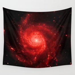 Pinwheel Galaxy Deep Red Wall Tapestry