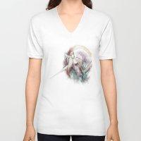 unicorn V-neck T-shirts featuring Unicorn by beart24
