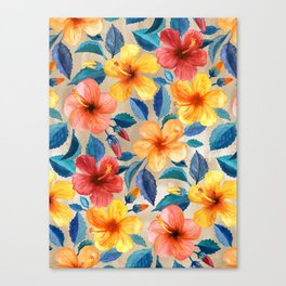 Colorful Watercolor Hibiscus on Warm Beige Canvas Print