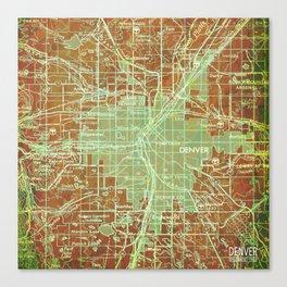 Denver Colorado map, year 1958, orange and green artwork Canvas Print