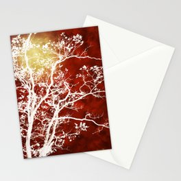 Burgundy Tree Art Stationery Cards