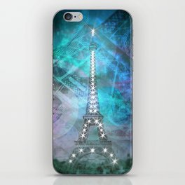 Illuminated Pop Art Eiffel Tower | Graphic Style iPhone Skin