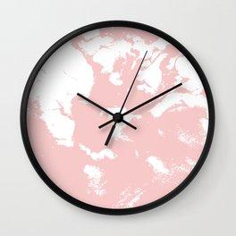 Marble pastel pink 2 Suminagashi watercolor pattern art pisces water wave ocean minimal design Wall Clock