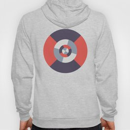 Simple geometric discs pattern red and silver Hoody