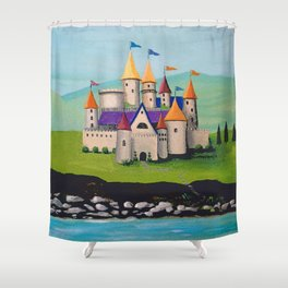 Kids Storybook Castle by the Water Shower Curtain