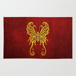 Intricate Red and Yellow Vintage Tribal Butterfly Rug