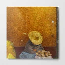 The woman and the hat Metal Print