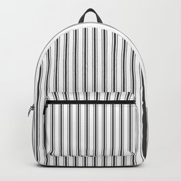 Mattress Ticking Narrow Striped Pattern in Dark Black and White Backpack