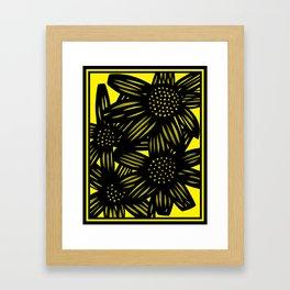 black, yellow, art print, art print, Drawing, Flowers, Botanical, Artwork, Home decor, Print, Botani Framed Art Print