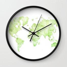 Green watercolor world map Wall Clock