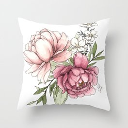 Watercolor Peony - Millennial Pink Peony Throw Pillow