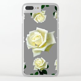 WHITE ROSES GARDEN DESIGN Clear iPhone Case