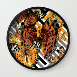 AWESOME  ORANGE-YELLOW BUTTERFLY GRAPHIC MODERN ART Wall Clock