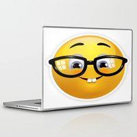 emoji Laptop & iPad Skins featuring Smiling Geek Emoji!  by Happy Positivity